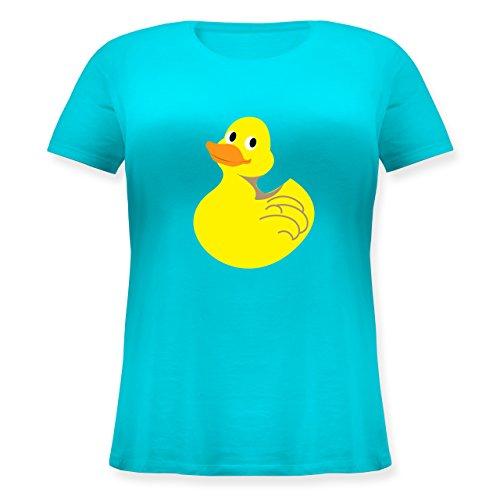 Comic Shirts - Quietscheente - L (48) - Türkis - JHK601 - Lockeres Damen-Shirt in großen Größen mit Rundhalsausschnitt