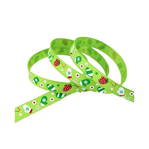 Geschenkband mit Weihnachts-Handschuhen, Ripsband, Satin, 10 mm, Grün (Grün Baseball-handschuhe Und Gold,)