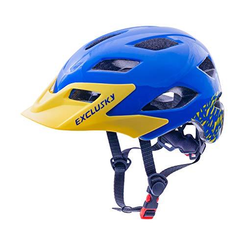 Exclusky Kinder Fahrradhelm CE-Zertifiziert, Kinder Radhelm für Roller Skating Skateboard BMX Roller 50-57cm (Alter 5-13) (Blau)