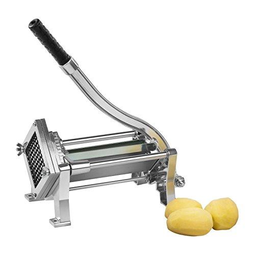 Royal Catering RCKS-3 Pommesschneider Kartoffelschneider Gemüseschneider (Inkl. 3 Messereinsätze 8x8/10x10/12x12, Manuell, Tisch- und Wandmontage, Edelstahl und Aluminium, Stabil) Potato Cutter