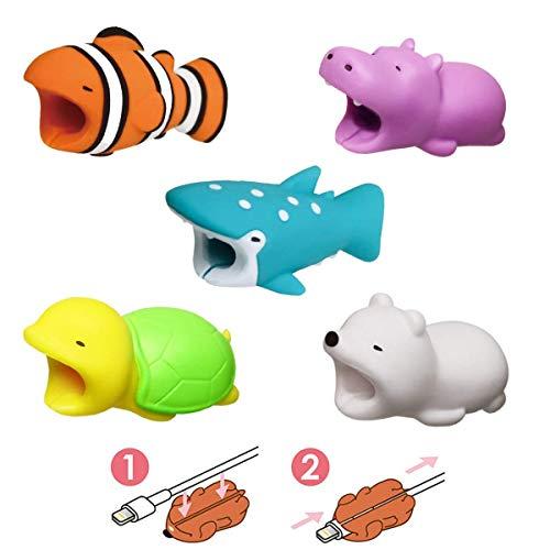 Newseego Kompatibel iPhone Kabel Schutz Ladegerät Saver Kabel Chevers Kabel Niedlich Tier Biss Kabel Zubehör Schützt - 5 Pack(Weißer Bär, Schildkröte, Flusspferd, Clownfish, Wal) -