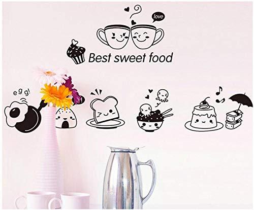 Abnehmbare/Aufkleber/Wandbilder/Wanddekoration Cartoon Wandaufkleber Essen glücklich Ausdruck Aufkleber Küche Dekoration selbstklebende Schlafzimmer Wohnzimmer Kunst Wandbild (Blatt Auto-ausdrücke)