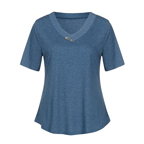 TWIFER Women's V Neck Short Cuffed Sleeve Summer Blouses Casual Henley Shirts