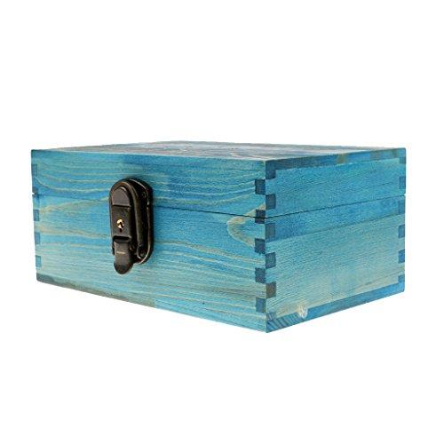 Cajas de Joyería Antiguo con Bloqueo Metal y Llave Pecho Baratija - Azul