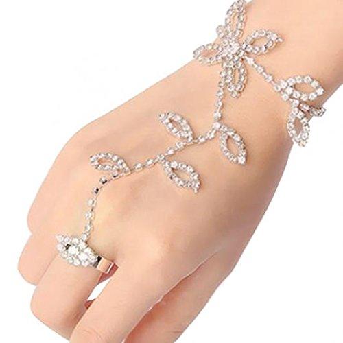 Amesii Kristall Strass Blatt Hand Geschirr Armband Slave Kette Link Fuß Finger Ring (Slave-armbänder)