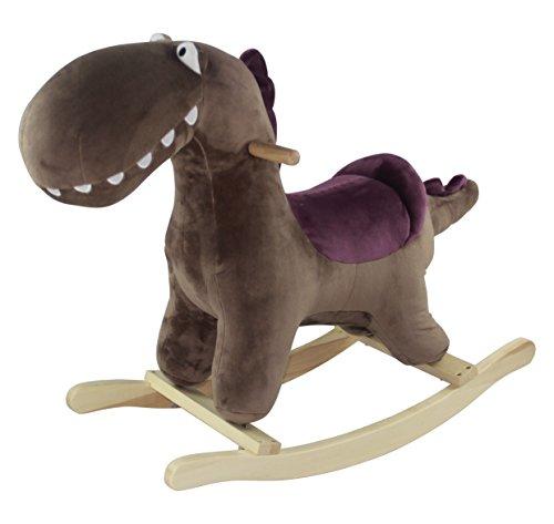 Sweety Toys 5437 Schaukelpferd Schaukeltier DINO, ein wunderschöner Dinosaurier, Plüschdinosaurier ,sehr aufwendig gearbeitet. Sehr hohe Qualität , sehr robust Farbe Braun Sattel Lila mit Funktion