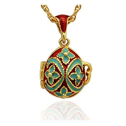 Anhänger Ei Stil Fabergé vergoldet Email rot und blau öffnen Apfel des Garten Eden und seine Kette Rothschild Hat