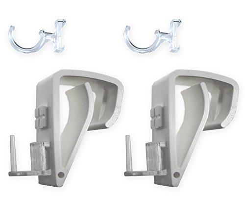 2er Set Klemmträger mit Adapter zur Montage ohne Bohren Halter von Cafehausstangen / Vitragestangen