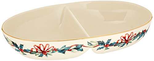 Lenox 870602 Winter Greetings Divided Oval Bowl, Porcelain, Multicolored
