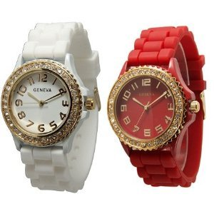TWO White & Red w/ Gold Tone Platinum Silicone Rubber Jelly w/ CZ Crystal  Rhinestones Face Bling Bez