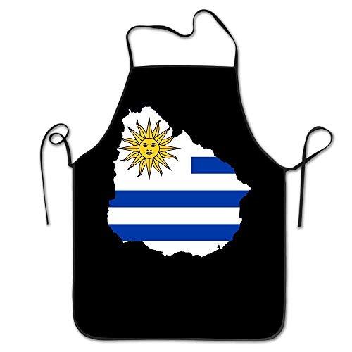Zhengzho Bandera de Uruguay Mapa Delantal para cocinar, Barbacoa, Hornear y Asar Delantales para Fiestas, Disfraces, Novio