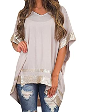 Odejoy Donne Taglia Grossa Decorato con Paillettes V-Collo Mezza Manica Blusa Scintillante Le Donne Sciolto Trim...