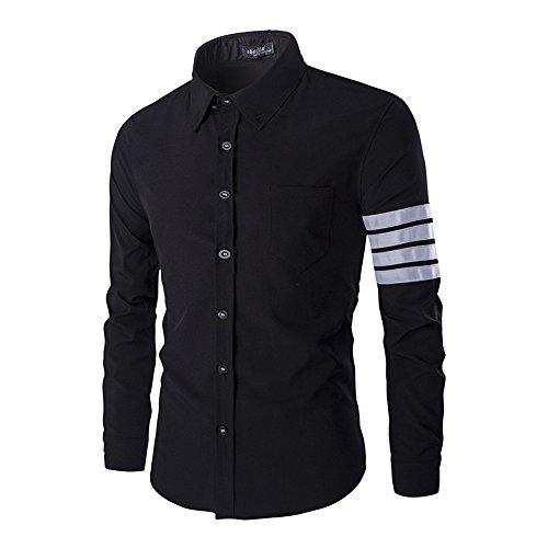 DaDag- Kentkragen Businesshemd Stylisch LangarmhemdSchlank Herrenhemd Button-down Freizeithemd Bequeme Einfarbige Shirt (XL, Schwarz) (Seide Shirts Bowling)