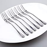 Firlar Stainless Steel Fruit Forks Flatware Set for Cake Salad Cocktail Dessert Set of 10,marshmallow forks,small forks,table forks,pastry forks