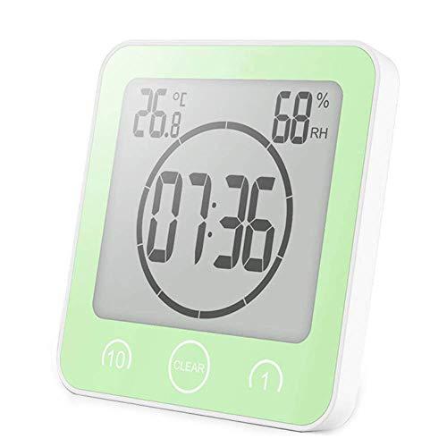 BSDZ Badezimmeruhr Uhr Badezimmer Dusche Saugnapf Shower Clock Digital mit LCD Display Luftfeuchtigkeit Temperatur Wanduhren,Countdown Timer Für Dusche Küche(Green) -