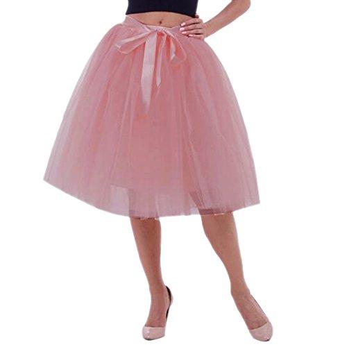 Femmes Tutu Ballet Jupe, 25,6 pouces en couches Organza dentelle Bubble Puffy une ligne courte et Maxi longueur Tulle princesse Petticoat pour la robe de bal de bal Gomme rouge