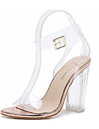 Transparente Cristal Correa Hebilla Botón Sandalias De Tacon Altos La Boca Baja Zapato Elegante Moda Tendencia Mujer