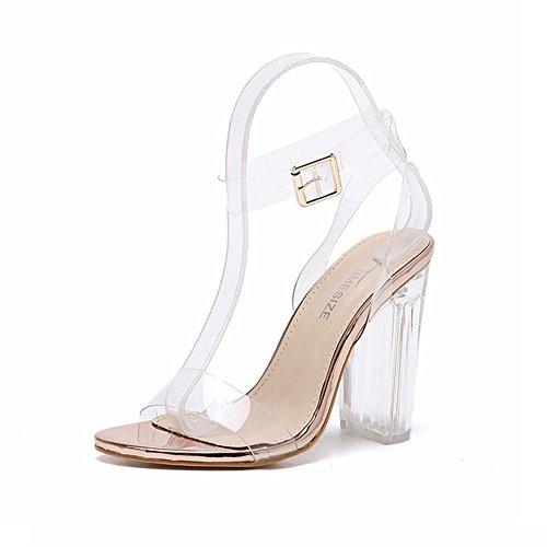 Transparent Kristall Riemchen Buckle Sandalen mit Absatz Shallow Mund Schuhe Elegant Trend 2017 Sommer Pumps Damen