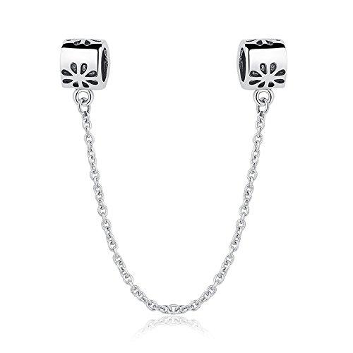 Daisy Sicherheit Kette 925?Sterling Silber Bead Passt Pandora Charme Armband (Pandora Armband Sicherheits-charme)