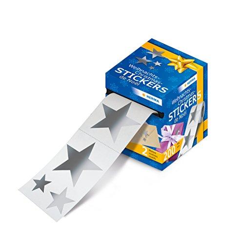 Herma 15134 Weihnachtssticker Sterne Etiketten silber, 200 Aufkleber f. Weihnachten auf Rolle, Folie glänzend, 1 Packung
