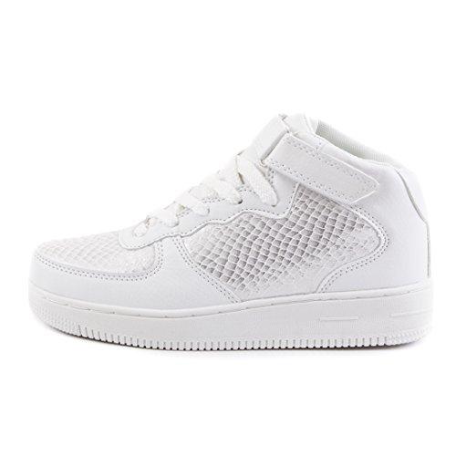 Trendige Unisex Damen Kinder Herren Schnür Mid Top Sneaker Freizeit Sport Turn Schuhe Weiß Metallic