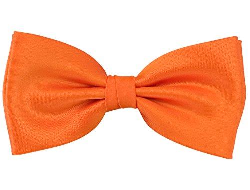 PUCCINI Einfarbige Fliege Herren, Satin-Schimmer, verschiedene Farben, Mikrofaser, Handarbeit, Hochzeit & Alltag (Orange) (Orange Fliege)