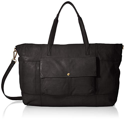 PIECES Damen Pcasta Leather Weekend Bag Schultertasche, Schwarz (Black), 14,5x32x38 cm