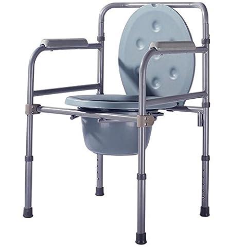 Réglable en Hauteur Chaise toilettes Toilette Folding Commode Lightweight Aluminium Bathroom Toilet Seat Seat Belt Wheel / Disability ? with top loading easily removable pot