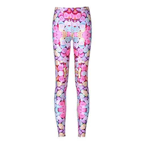Pantaloni sportivi con stampa push up fitness stampati in 3d donna sweet heart candy plus size pantaloni a vita alta punk rock pink m
