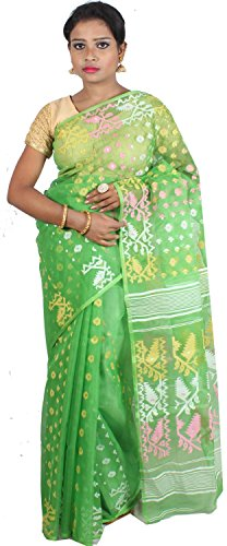 A.R SHOP Handloom Dhakai Jamdani Cotton Silk Tant Saree (Green)