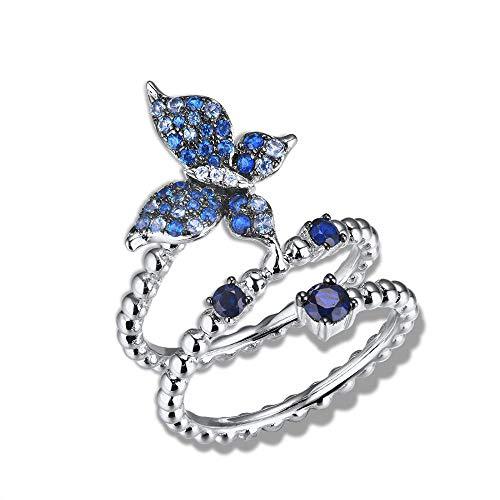 Anelli Yuan Ou Anelli d'Argento per Donne Pure 925 Sterling Argento Blu-Spinelli Elegante Farfalla Regolabile Anello Moda Gioielli 9 Come Mostrato