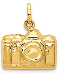 14k Yellow Gold 3 D Camera Pendant Charm Necklace Travel Transportation Fine Jewelry For Women Gift Set