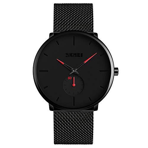 Relojes para Hombres, KOTIME De Moda Casual Hombre Relojes De Malla Ultra Fino Negro para Hombres Relojes Deportivo Reloj Hombre de Cuarzo Impermeable (Rojo)