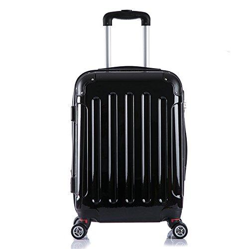 EUGAD #376 Reisekoffer Hartschale Koffer Trolley mit erweiterbare Volumen , Reise Koffer Trolley 4 Rollen , Hartschalenkoffer Handgepäck M/L/XL/Set , leicht und günstig , Schwarz (M, 56 cm & 42 Liter)