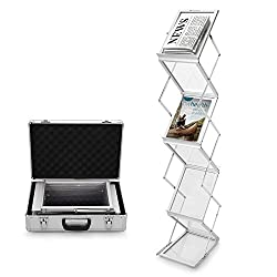 Voilamart A4 Exhibition Stand, 6-section Display Stand Double Sided Shelves Folding Floor Display Stand Portable Magazine Brochure Literature Leaflet Holder Catalogue Reference Racks For Exhibition Trade Show Showroom Reception With Carry Case, Silver 148x35 X27cm