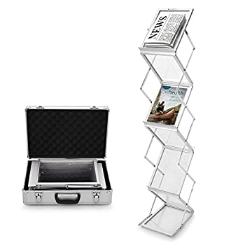 Voilamart A4 Exhibition Stand, 6-section Display Stand Double Sided Shelves Folding Floor Display Stand Portable Magazine Brochure Literature Leaflet Holder Catalogue Reference Racks For Exhibition Trade Show Showroom Reception With Carry Case, Silver 148x35 X27cm 0