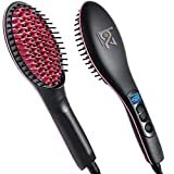 BUYERZONE WITH BZ LOGO 2 in 1 Plastic Ceramic Straight and Curler Hair Straightener Comb and Styler Brush For Women (Medium, Black)