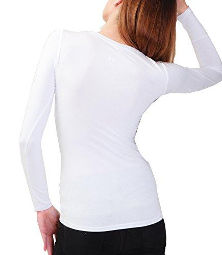 Kefali Damen Langarm Shirt Rundhals T-Shirt Viskosejersey Weiß
