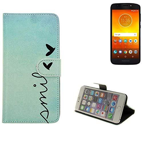 K-S-Trade® Für Motorola Moto E5 Dual SIM Hülle Wallet Case Schutzhülle Flip Cover Tasche Bookstyle Etui Handyhülle ''Smile'' Türkis Standfunktion Kameraschutz (1Stk)