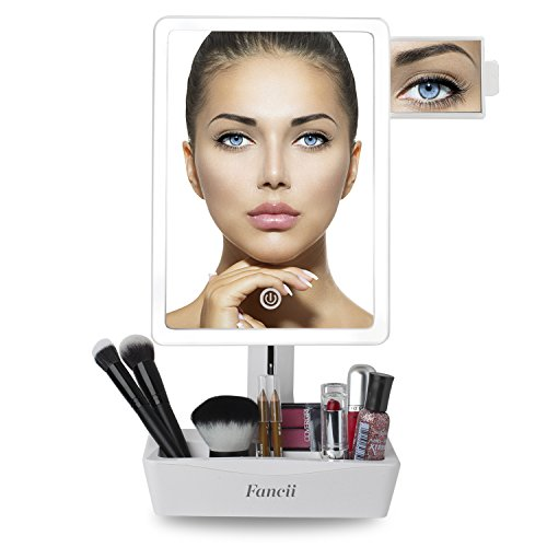Fancii Beleuchteter Kosmetikspiegel Schminkenspiegel groß mit LED Licht Dimmbar, normal und 10-fach Vergrößerung, Tischspiegel Make up Spiegel mit Beleuchtung, Batterie oder USB und Kosmetik Organiser