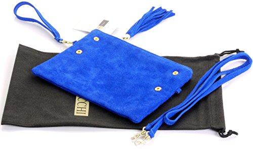 Pli main cuir daim italien fait embrayage, poignet ou sac à bandoulière.Comprend un sac de rangement protecteur marque. Bleu royal