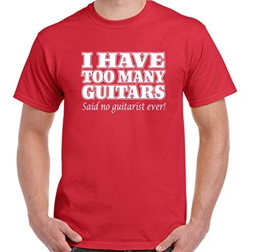 Larry Ich habe zu viele Gitarren Lustiger Gitarrist Elektro-Akustik-Bassverstärker Klassisches Baumwoll-Kurzarm-T-Shirt für Männer, Sportlich Bequem