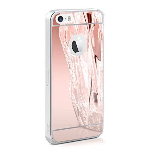 kwmobile Hülle für Apple iPhone SE/5/5S - TPU Silikon Backcover Case Handy Schutzhülle - Cover Rosegold spiegelnd - Apple Iphone Spiegel