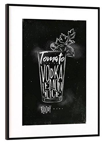 artboxONE Poster mit Rahmen Schwarz (Metallic) 45x30 cm Bloody Mary Cocktail Chalk von Anna Kozlenko