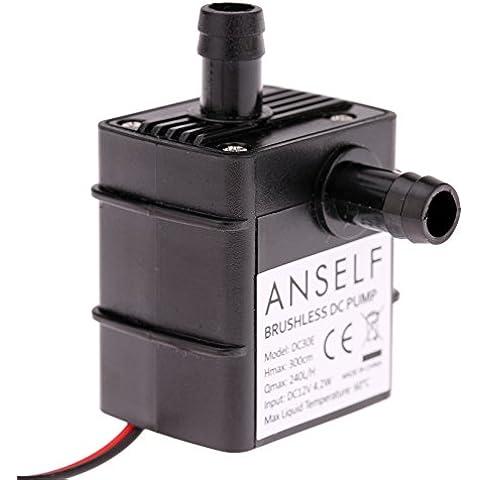 ANSELF - Bomba de Agua / Aceite / Líquido para Fuente Sumergible Acuario Circulación Impermeable & Sin Cepillo (Max.Lift:3m,DC12V,4.2W,Mini micro)