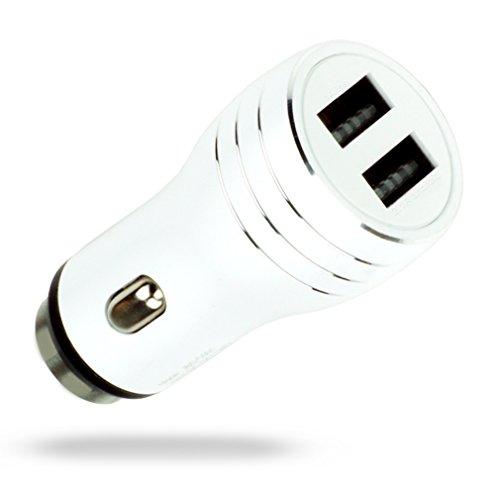 MyGadget Auto Caricabatterie Alluminio - Doppio USB Caricatore Universale (2,1 A 1 A) per Smartphone e Tablet p.e. iPhone, Samsung – Bianco Metallizzato
