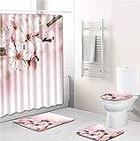 EMG Polyester Fibre Salle De Bain Rideau Salle De Bain Tapis De Toilette Siège Coussin 16 Pièce Set Creative Fleurs Série Ⅱ