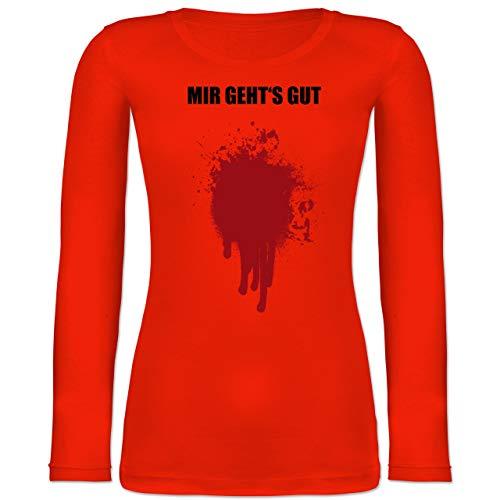 - Mir geht's gut Blutfleck Kostüm - XS - Feuerrot - BCTW071 - Langarmshirt Damen ()