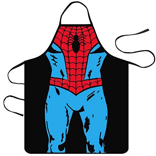 Kostüm Über Spiderman - Mediffen Lustige Küchenschürze Unisex Muscle Male Schürzen Creative Cartoon Schürzen, Black 7-Spiderman, Einheitsgröße