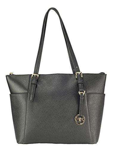 MIK Trendy Damen Schultertasche Handtasche PU-Ledertasche Grob (Black)